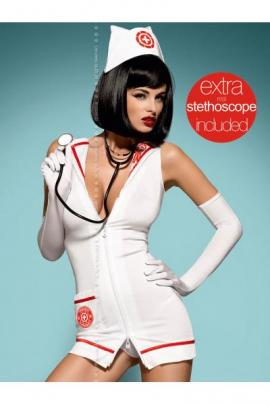 Costum Emergency dress + stethoscope Alb