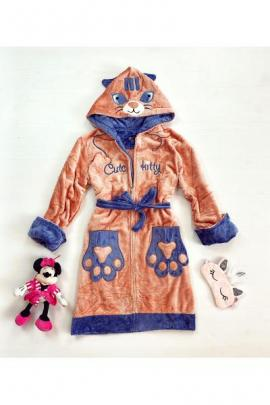 Halat dama ieftin plusat corai cu imprimeu bleumarin si pisica Cute Kitty