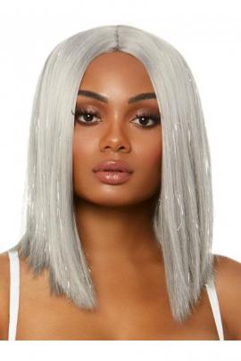 Peruca A2863 Long bob wig with tinsel Gri
