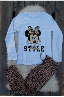 Pijama cu maneca lunga Style Minnie alb