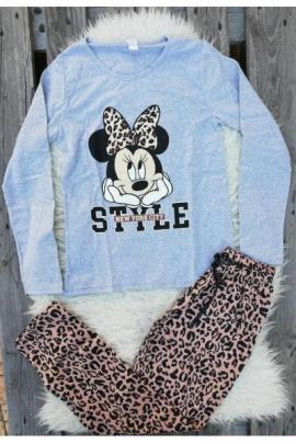Pijama cu maneca lunga Style Minnie gri