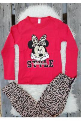 Pijama cu maneca lunga Style Minnie rosu