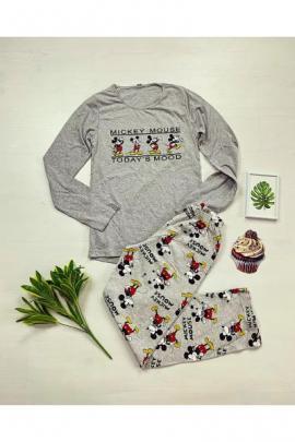 Pijama dama bumbac cu pantaloni lungi si bluza cu maneca lunga gri cu imprimeu MK mood