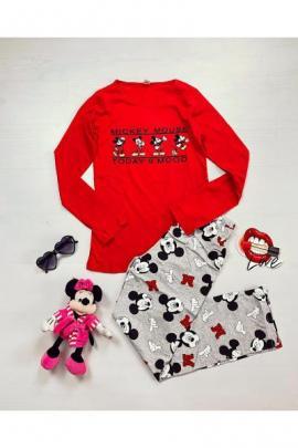 Pijama dama bumbac cu pantaloni lungi si bluza cu maneca lunga rosie cu imprimeu MK mood