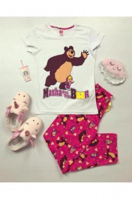 Pijama dama bumbac ieftina cu tricou alb si pantaloni lungi roz cu imprimeu Masha