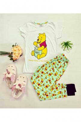 Pijama dama bumbac ieftina cu tricou alb si pantaloni verzi cu imprimeu Yummy