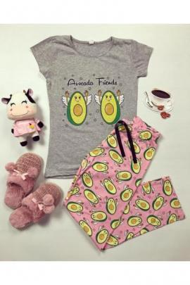 Pijama dama bumbac ieftina cu tricou gri si pantaloni lungi roz cu imprimeu Avocado