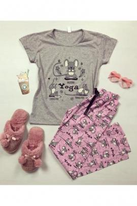 Pijama dama bumbac ieftina cu tricou gri si pantaloni roz cu Soricel YOGA