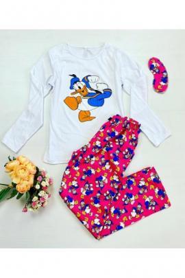 Pijama dama bumbac lunga cu pantaloni roz si bluza cu maneca lunga alba cu imprimeu DD