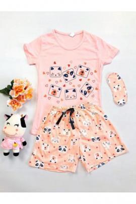 Pijama dama bumbac primavara-vara cu pantaloni scurti roz si tricou roz cu imprimeu Animals
