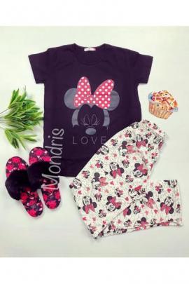 Pijama dama bumbac primavara vara lunga cu tricou negru cu imprimeu Minnie Mouse LOVE