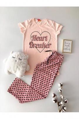 Pijama dama din bumbac ieftina lunga cu pantaloni lungi roz si tricou roz cu imprimeu Heart Breaker