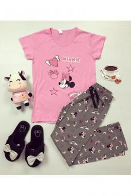 Pijama dama ieftin din bumbac cu tricou roz si pantaloni gri inchis cu imprimeu Minnie Stea