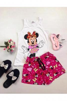 Pijama dama ieftina bumbac cu maieu si pantaloni scurti roz cu imprimeu MM Happy