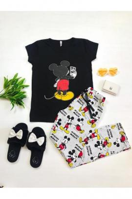 Pijama dama ieftina bumbac cu pantaloni lungi gri si tricou negru cu imprimeu MK Selfie