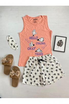 Pijama dama ieftina bumbac cu pantaloni scurti albi si maieu portocaliu cu imprimeu Signs