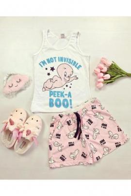 Pijama dama ieftina bumbac cu pantaloni scurti roz si maieu alb cu imprimeu CP