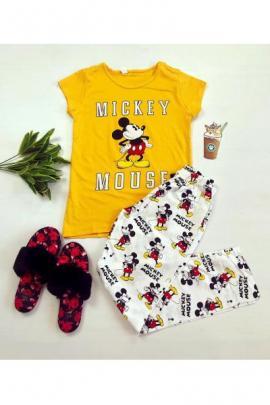Pijama dama ieftina bumbac cu tricou galben si pantaloni lungi albi cu imprimeu MK Scris