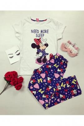 Pijama dama ieftina bumbac cu tricou si pantaloni lungi albastri imprimeu Minnie Need More Sleep