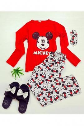 Pijama dama ieftina bumbac lunga cu bluza rosie cu maneca lunga si pantaloni lungi gri cu imprimeu MK Scris