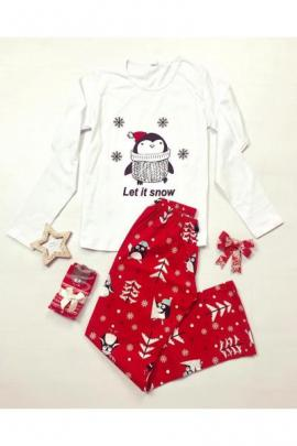 Pijama dama ieftina bumbac lunga cu pantaloni rosii si bluza cu maneca lunga alba cu imprimeu Pinguin
