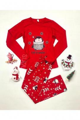 Pijama dama ieftina bumbac lunga cu pantaloni rosii si bluza cu maneca lunga rosie cu imprimeu Pinguin