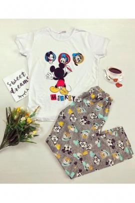 Pijama dama ieftina bumbac lunga cu tricou alb si pantaloni lungi gri cu imprimeu Mickey Mouse Pictor