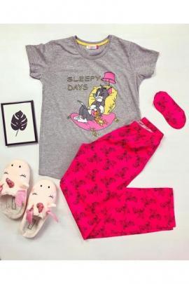 Pijama dama ieftina bumbac lunga cu tricou gri si pantaloni lungi roz inschis cu imprimeu Sleepy days