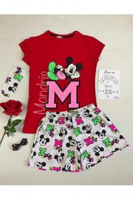 Pijama dama ieftina bumbac primavara vara cu tricou rosu si pantaloni scurti albi cu imprimeu Mickey Mouse