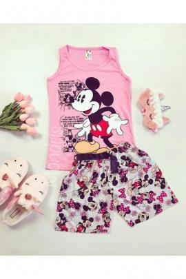 Pijama dama ieftina bumbac roz cu maieu si pantaloni scurti gri cu imprimeu MK Vintage