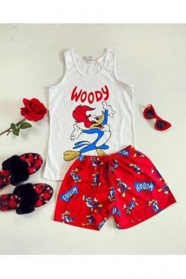 Pijama dama ieftina bumbac scurta cu maieu alb si pantaloni scurti rosii cu imprimeu WY