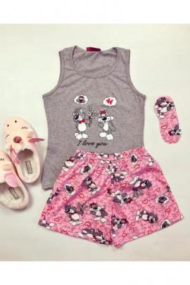 Pijama dama ieftina din bumbac cu maieu gri si pantaloni scurti roz cu imprimeu I love you