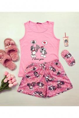 Pijama dama ieftina din bumbac cu maieu roz si pantaloni scurti roz cu imprimeu I love you