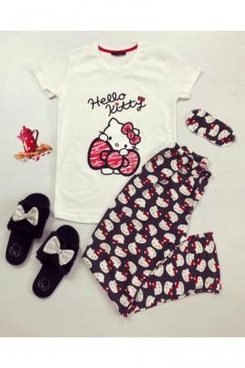 Pijama dama ieftina din bumbac cu tricou alb si pantaloni bleumarin cu imprimeu Hello Kitty