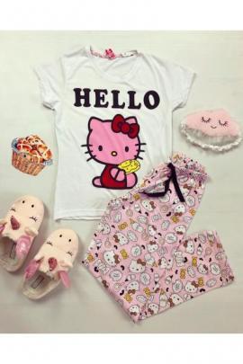 Pijama dama ieftina din bumbac cu tricou alb si pantaloni roz cu imprimeu Hello Kitty