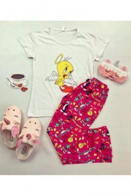 Pijama dama ieftina din bumbac cu tricou alb si pantaloni roz cu imprimeu Tweety Angel