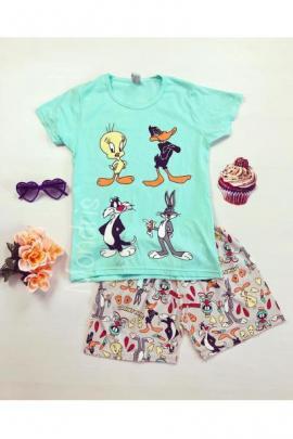 Pijama dama ieftina din bumbac cu tricou albastru si pantaloni scurti gri cu imprimeu 4 personaje