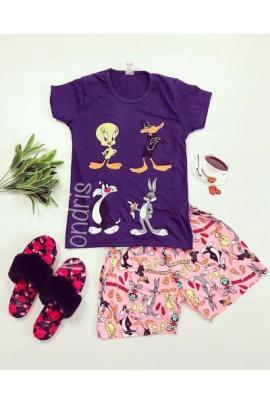 Pijama dama ieftina din bumbac cu tricou negru si pantaloni scurti roz cu imprimeu 4 personaje