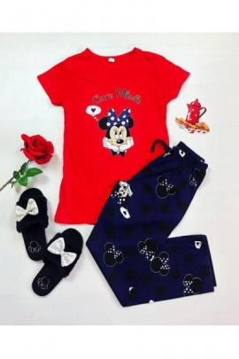 Pijama dama ieftina din bumbac cu tricou rosu si pantaloni bleumarin cu imprimeu Minnie Original