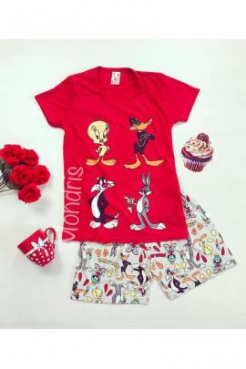 Pijama dama ieftina din bumbac cu tricou rosu si pantaloni scurti gri cu imprimeu 4 personaje
