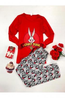 Pijama dama ieftina din bumbac lunga cu pantaloni lungi gri si bluza cu maneca lunga rosie cu imprimeu Bugs Bunny Looney Tunes
