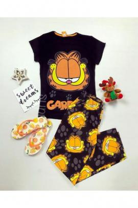 Pijama dama ieftina din bumbac lunga cu pantaloni lungi negri si tricou negru cu imprimeu Garfield