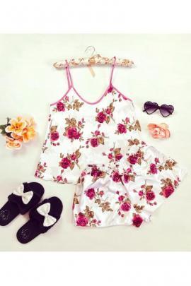 Pijama dama ieftina primavara-vara alba din satin lucios cu imprimeu trandafir roz