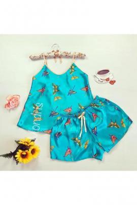 Pijama dama ieftina primavara-vara albastra din satin lucios cu imprimeu fluturi