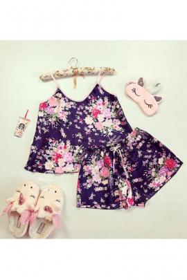 Pijama dama ieftina primavara-vara bleumarin din satin lucios cu imprimeu floral