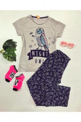 Pijama dama ieftina primavara-vara cu pantaloni lungi bleumarin si tricou gri cu imprimeu Night Owl