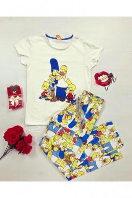 Pijama dama ieftina primavara-vara cu pantaloni lungi colorati si tricou alb cu imprimeu The Simpsons