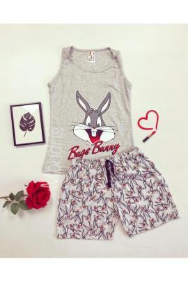 Pijama dama ieftina primavara-vara cu pantaloni scurti gri si maieu gri cu imprimeu Happy BB