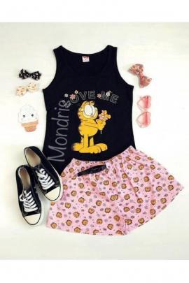 Pijama dama ieftina primavara-vara cu pantaloni scurti roz si maieu negru cu imprimeu Garfield
