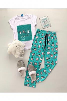 Pijama dama ieftina primavara-vara cu tricou alb cu verde si imprimeu cu bufnite Cute Owls